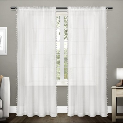 54 x63  Tassels Sheer Rod Pocket Window Curtain Panel Pair White - Exclusive Home