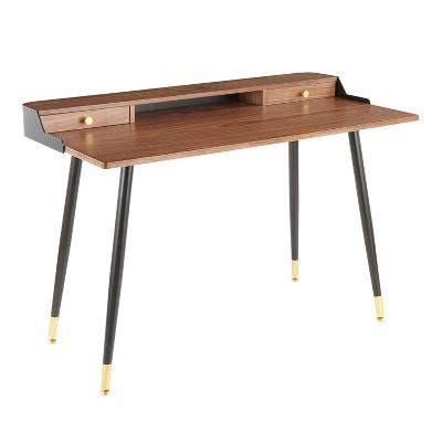 Harvey Mid Century Modern Desk Black/Walnut - LumiSource