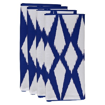 Dazzling Blue Geometric Throw Napkin Set (19 X19 )- E By Design