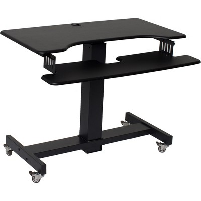 Height Adjustable Mobile Sit To Standing Desk Black - Rocelco