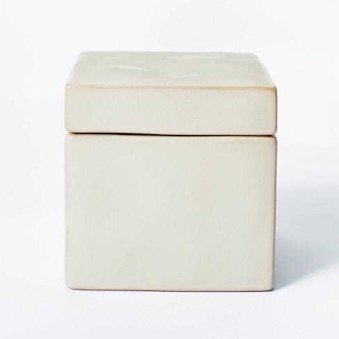 "5"" x 5"" Carved Ceramic Box Gray - Threshold™ designed with Studio McGee - image 1 of 4"