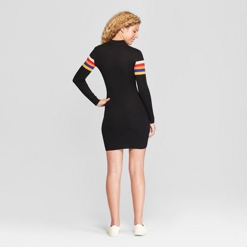 ac4111551a758 Women's Striped Long Sleeve Quarter Zip Placed Rib Dress - Almost Famous  (Juniors') Black : Target