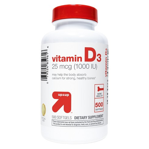Vitamin D3 Bone Health Dietary Supplement Softgels - 500ct - up & up™ - image 1 of 3