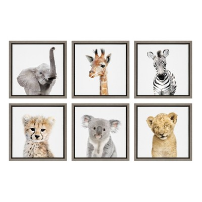 "6pc 13"" x 13"" Sylvie Safari Animal Framed Canvas Art Set by Amy Peterson Gray - Kate and Laurel"