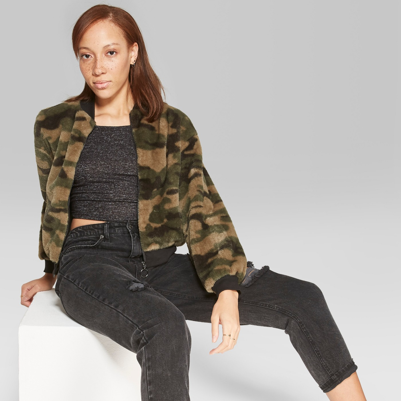 Women's Camo Print Full Zip Faux Fur Jacket - Wild Fable™ Green - image 1 of 3
