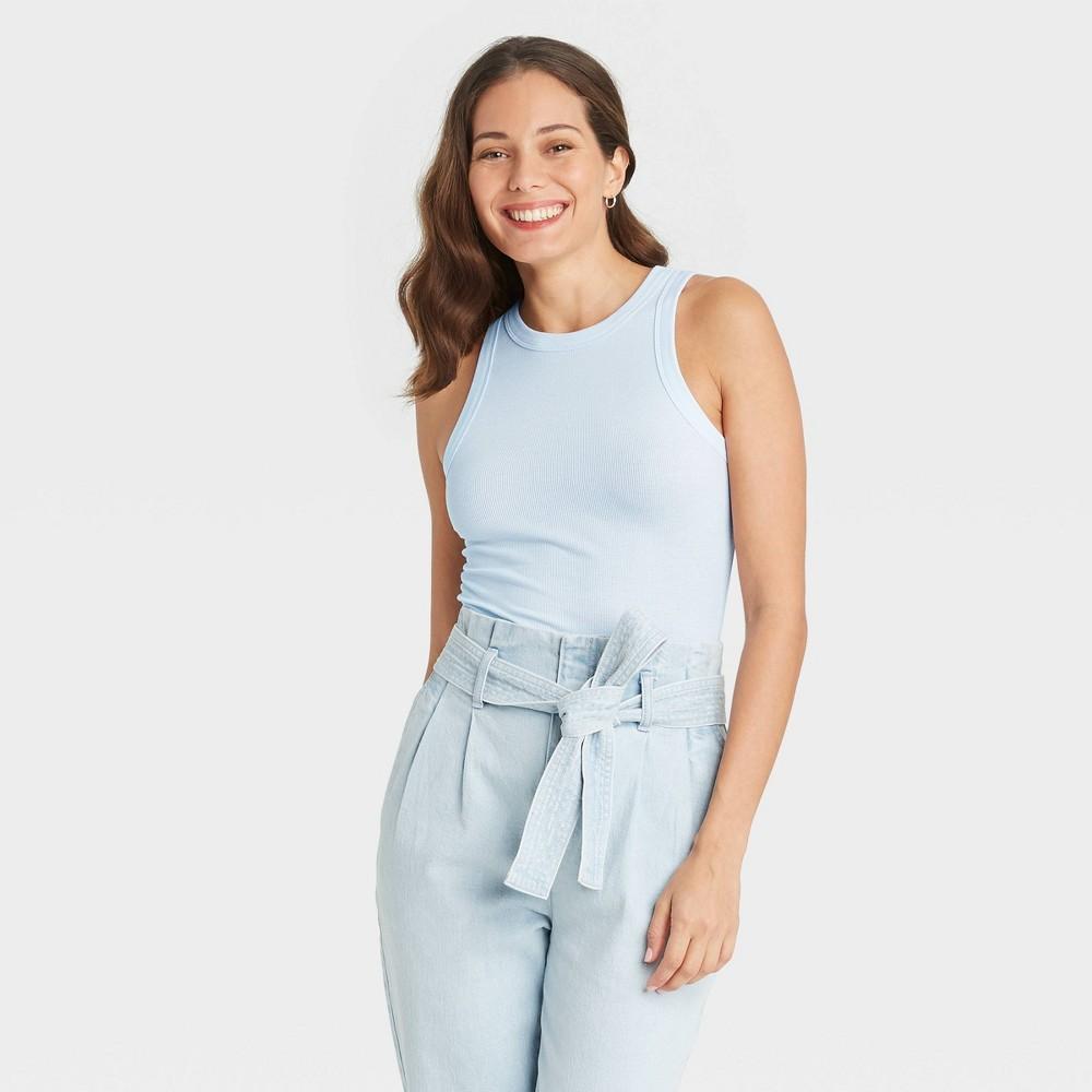Women 39 S Plus Size Slim Fit Long Rib Tank Top A New Day 8482 Light Blue 1x