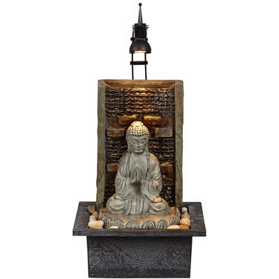"""John Timberland Zen Buddha Tabletop Water Fountain 11 1/2"""" Waterfall with LED Light for Indoor Table Desk"""