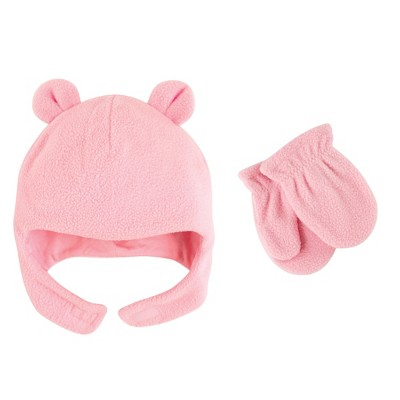 Luvable Friends Toddler Girl Beary Cozy Hat and Mitten Set 2pc