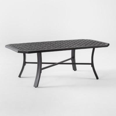 chester aluminum patio coffee table black threshold target rh target com aluminum patio table seats 8 aluminum patio table round