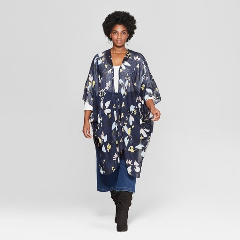 00401ee6c Women's Plus Size Floral Print Lightweight Kimono Jacket Ruana - A New Day™  Navy