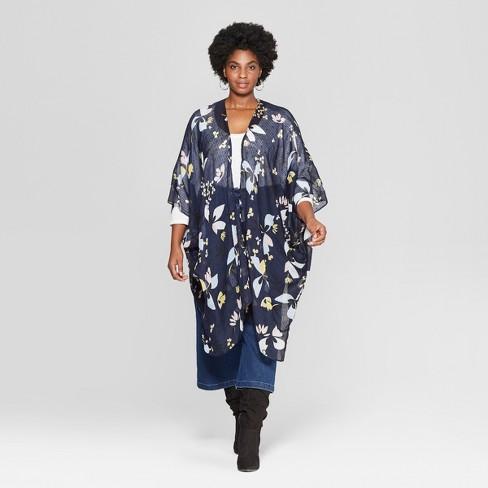 Women\'s Plus Size Floral Print Lightweight Kimono Jacket Ruana - A New Day™  Navy