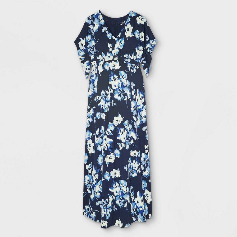 Floral Print Kimono Short Sleeve Knit Maternity Dress Isabel Maternity By Ingrid 38 Isabel 8482 Blue Xl