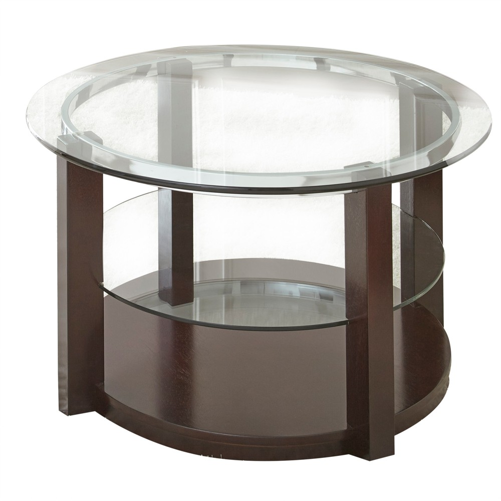 Cerchio Cocktail Table Wood and Glass - Steve Silver, Brown