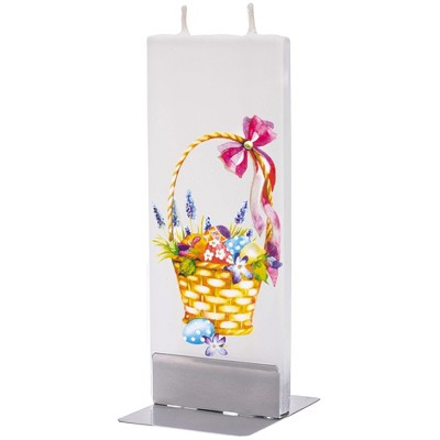 """Home Decor 5.75"""" Easter Basket And Eggs Candle Unscented Handmade Flat Painted  -  Flame Candles"""