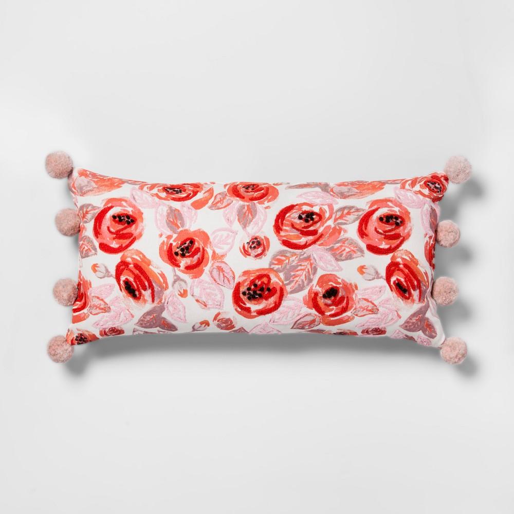 Orange/Pink Floral Lumbar Throw Pillow - Opalhouse