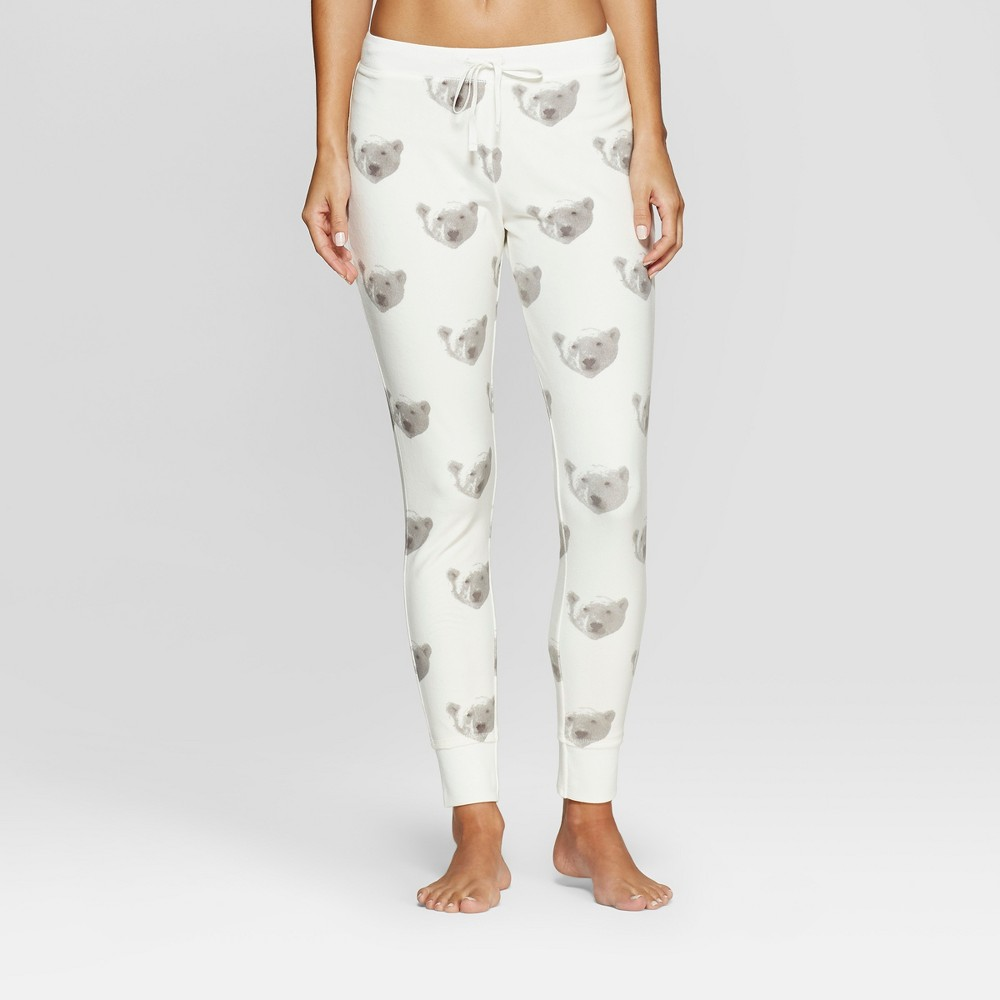 Women's Cozy Fleece Bear Pajama Pants - Xhilaration Almond Cream S, White