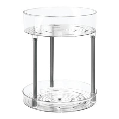 mDesign Bathroom Vanity 2-Level Makeup Storage Turntable
