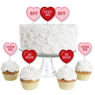 Big Dot of Happiness Conversation Hearts - Dessert Cupcake Toppers - Valentine's Day Party Clear Treat Picks - Set of 24