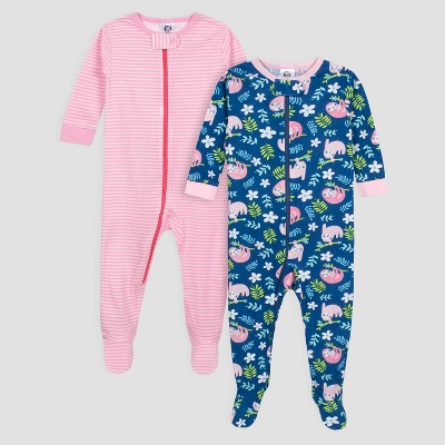 Gerber Baby Girls' 2pk Sloths Long Sleeve Cotton Footed Unionsuit - Blue/Pink 24M