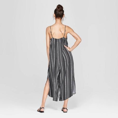 227913fa11ad Women s Striped Strappy V-Neck Waistless Cropped Jumpsuit - Xhilaration™  Black White   Target