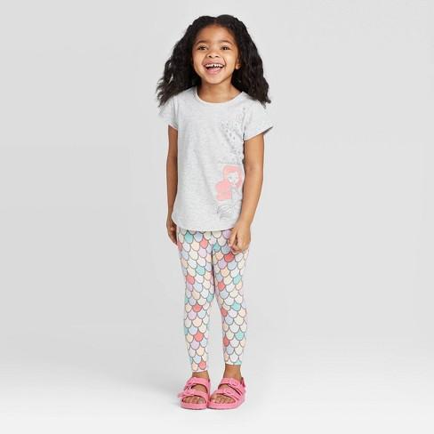 Toddler Girls' Disney Ariel Short Sleeve Top and Leggings Set - Heather Gray - image 1 of 4