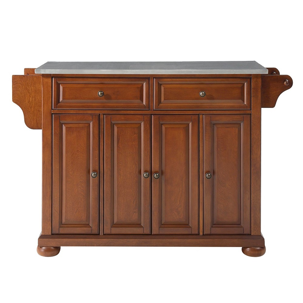 Alexandria Stainless Steel Top Kitchen Island - Classic Cherry (Red) - Crosley
