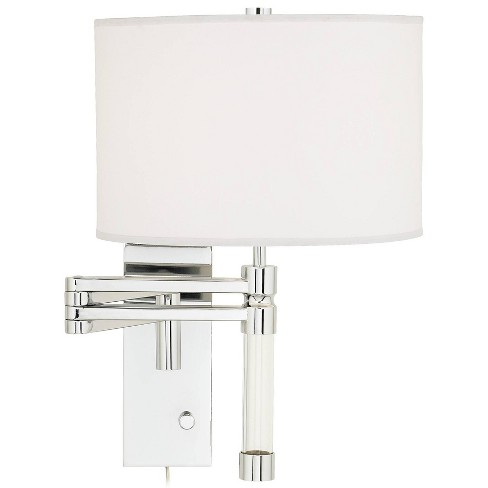 Possini Euro Design Modern Swing Arm Wall Lamp Chrome Plug-In Light Fixture White Drum Shade Bedroom Bedside Living Room Reading - image 1 of 4