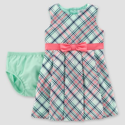 Baby Girls' Plaid Dress - Just One You® made by carter's Mint/Pink NB