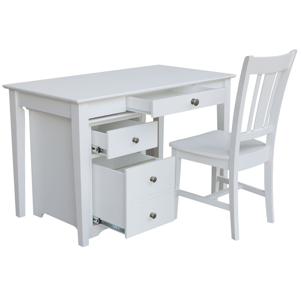 Skip 2 Drawer File Cabinet with Desk and Chair White - International Concepts
