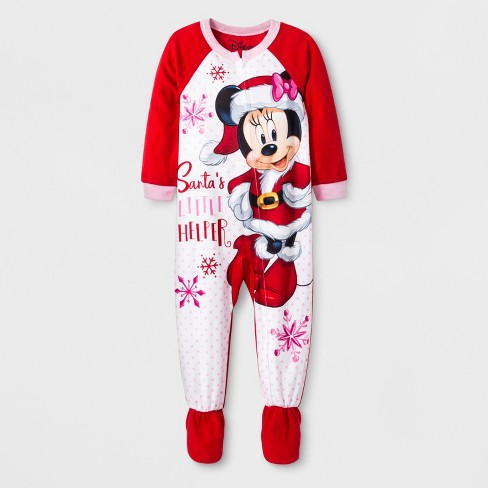 Toddler Girls' Minnie Mouse Blanket Sleeper - Red - image 1 of 2