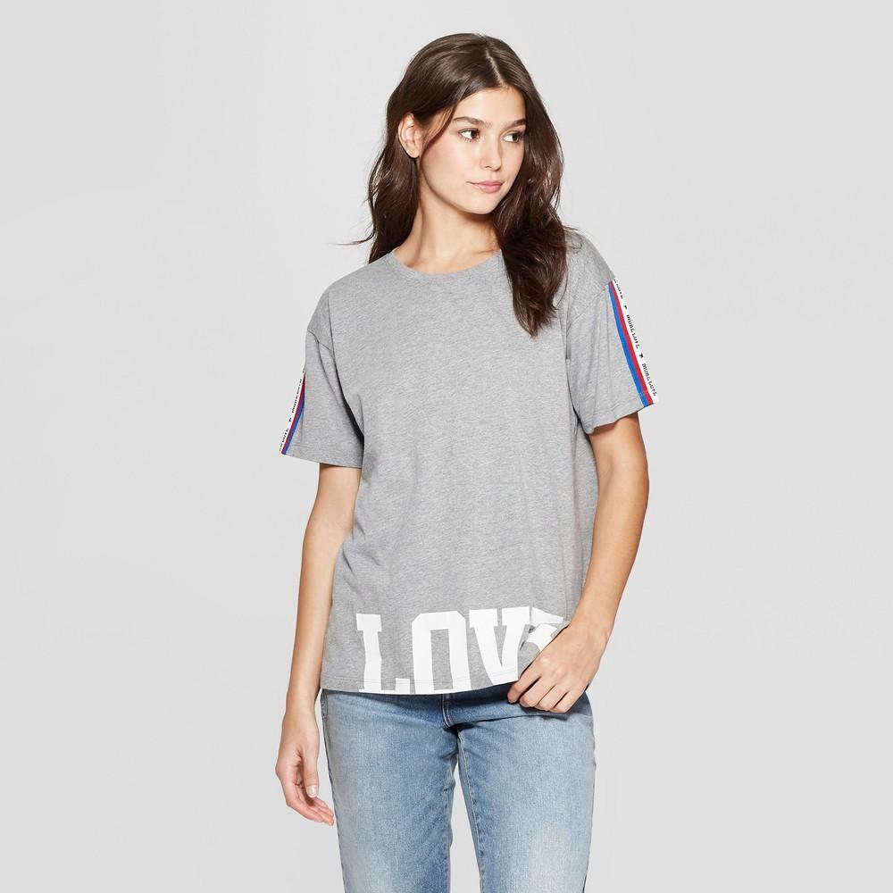 Women's Short Sleeve Love Athletic Stripe Graphic T-Shirt - Modern Lux (Juniors') Heather Gray L