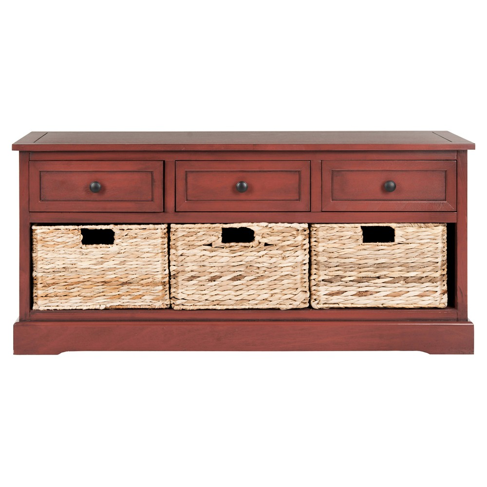 Damien 3 Drawer Storage Unit Red - Safavieh