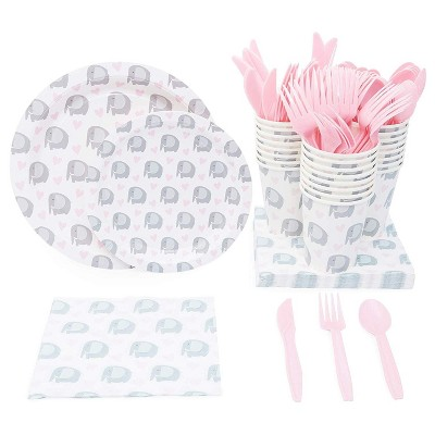 Sparkle and Bash Elephant Themed Party Supplies Pack for Baby Showers (Serves 24)