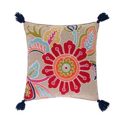 Jules Crewel Flower Decorative Pillow - Levtex Home