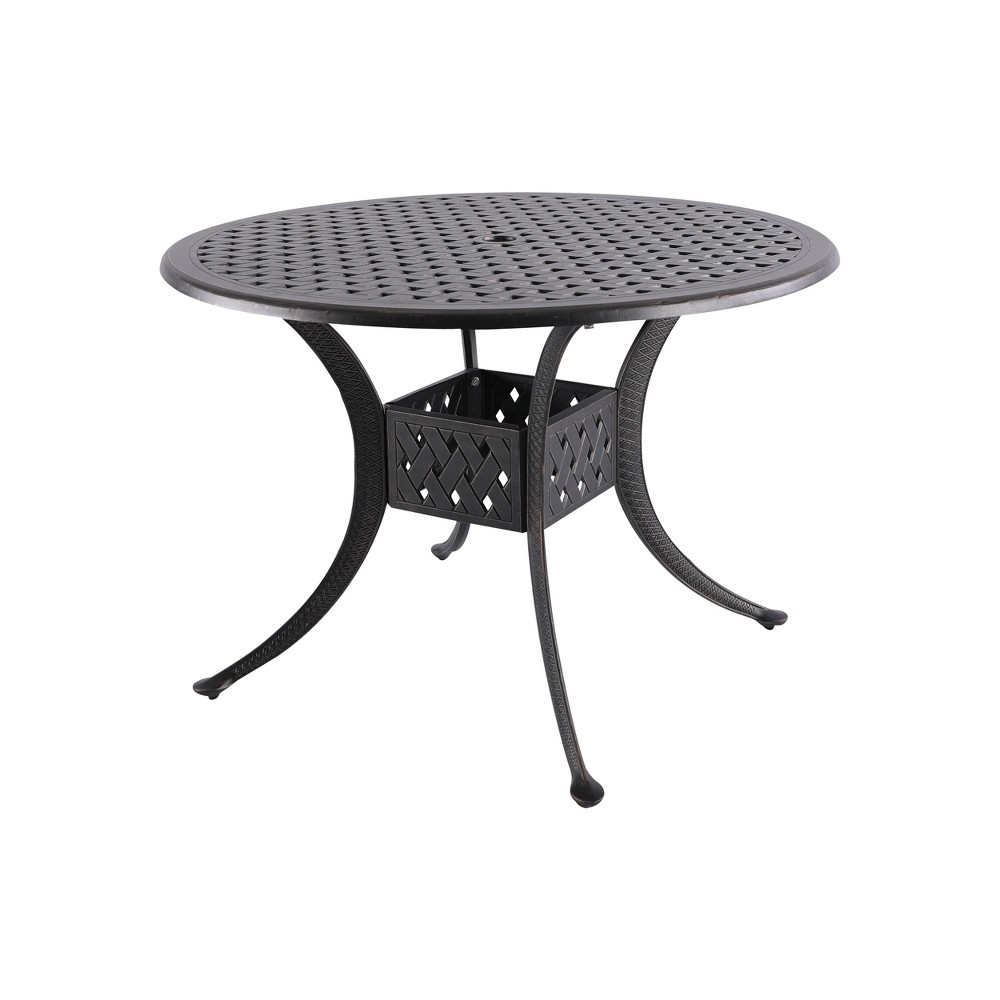 "Image of ""42"""" Cast Aluminum Round Patio Dining Table Black Wood/Blue - Nuu Garden"""