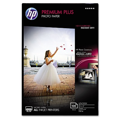 HP Premium Plus Photo Paper 80 lbs. Glossy 4 x 6 100 Sheets/Pack CR668A