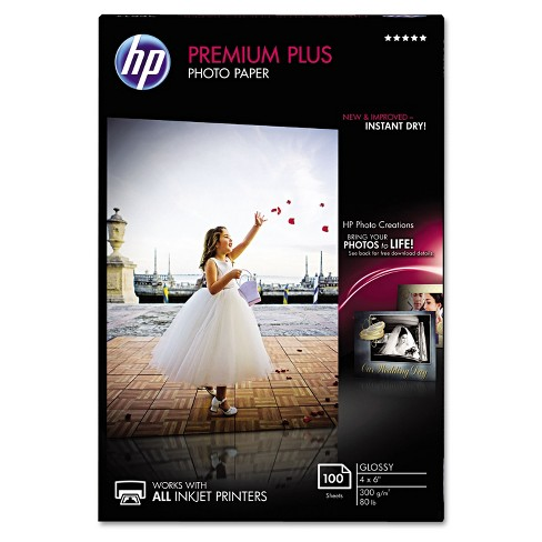 HP Premium Plus Photo Paper 80 lbs. Glossy 4 x 6 100 Sheets/Pack CR668A - image 1 of 1