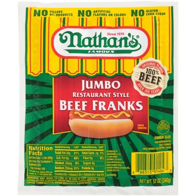 Nathan's Famous Jumbo Restaurant Style Beef Franks - 12oz/5ct