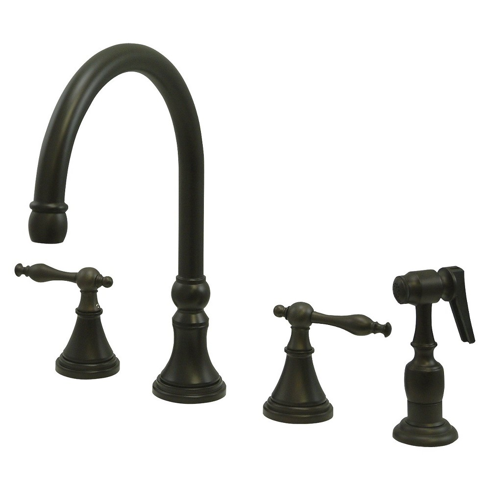 Widespead 4-Hole Solid Brass Kitchen Faucet Oil Rubbed Bronze - Kingston Brass
