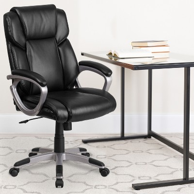 Flash Furniture Mid-Back LeatherSoftSoft Executive Swivel Office Chair with Padded Arms