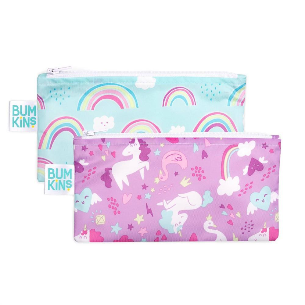 Image of Bumkins Reusable Snack Bag 2-Pack Rainbows/Unicorn