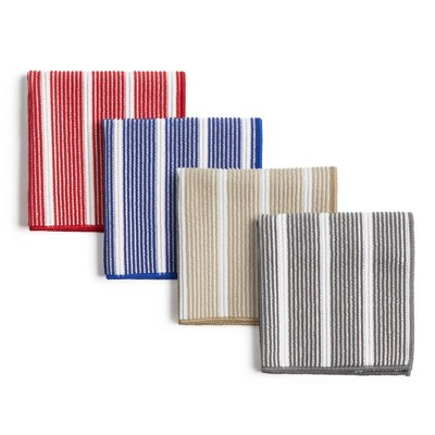 "8pk 12""X12"" Rainbow Stripe Dish Cloths Red/Blue/Gray/Beige - Town & Country Living"