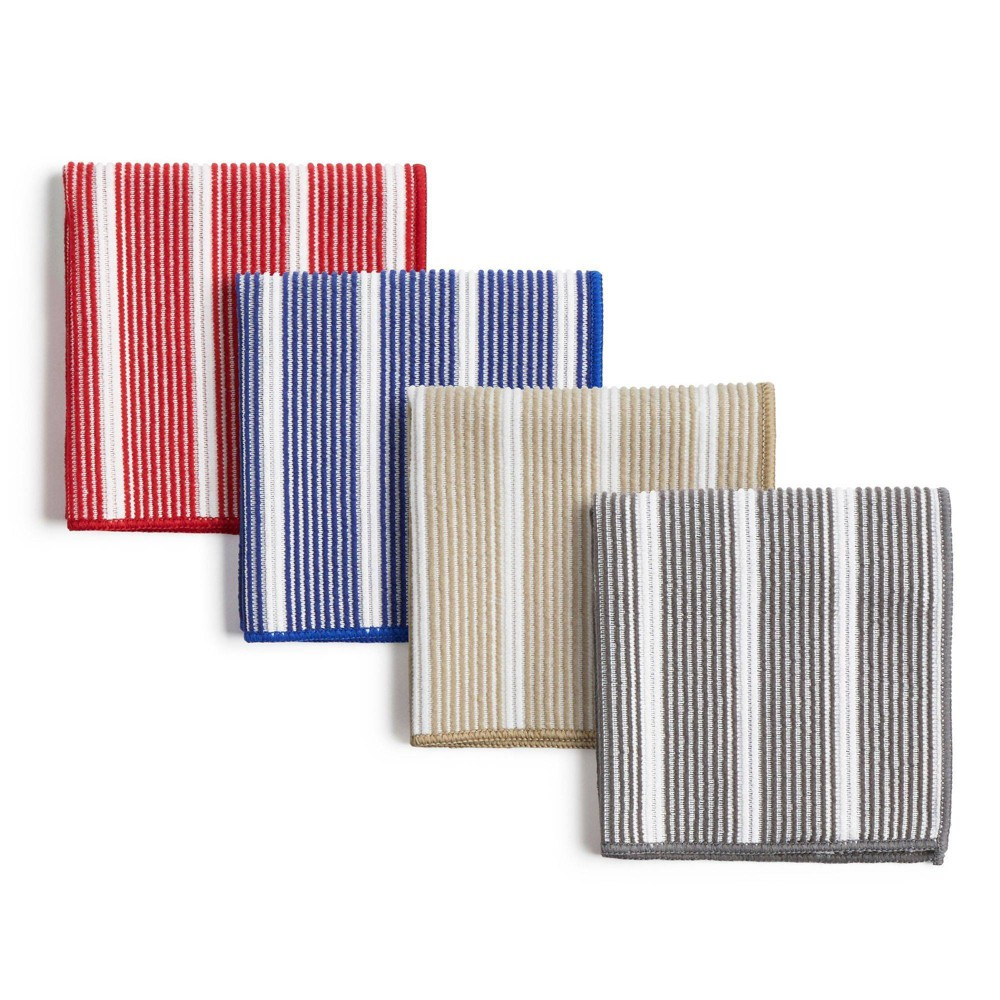 """Image of """"8pk 12""""""""X12"""""""" Rainbow Stripe Dish Cloths Red/Blue/Gray/Beige - Town & Country Living"""""""
