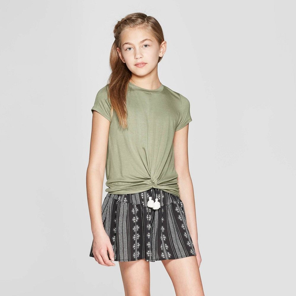 Girls' Short Sleeve Twist Front T-Shirt - art class Olive (Green) M