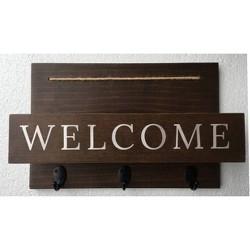 "15"" x 10"" Wood Welcome Mail Station Walnut - Threshold™"
