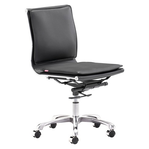 Ergonomic Upholstered Adjustable Armless Office Chair - Black - ZM Home - image 1 of 2