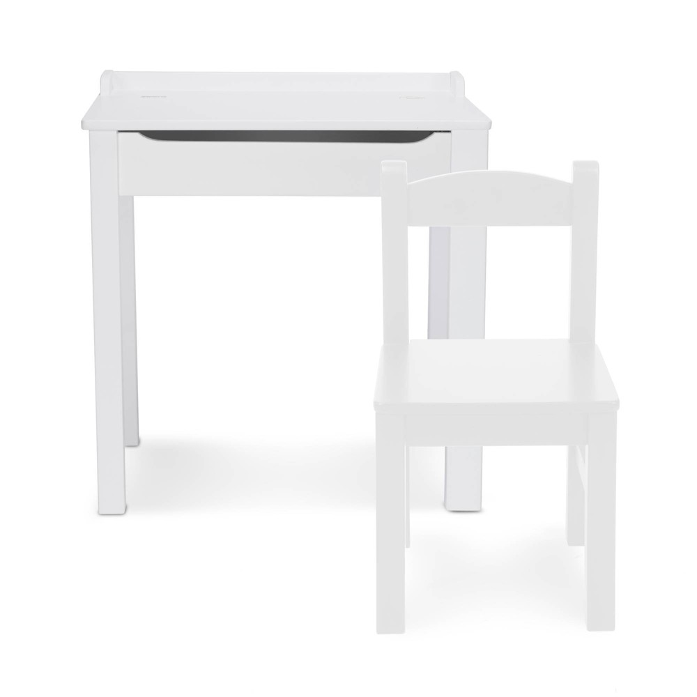 Melissa 38 Doug Wooden Child 39 S Lift Top Desk And Chair White
