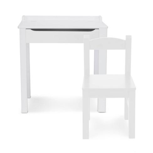 Pleasing Melissa Doug Wooden Childs Lift Top Desk And Chair White Dailytribune Chair Design For Home Dailytribuneorg