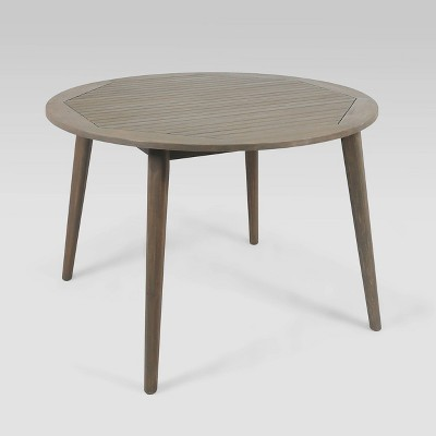 Stamford Round Acacia Wood Dining Table - Gray - Christopher Knight Home