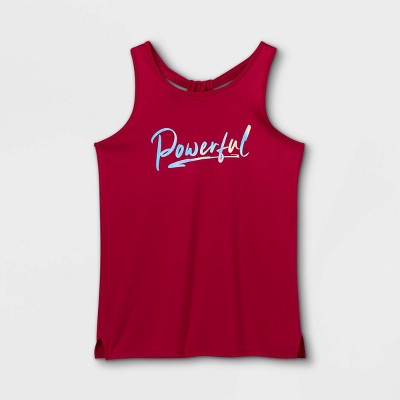 Girls' 'Powerful' Graphic Tank Top - All in Motion™ Berry